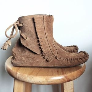 J. Crew Sienna Fringe Moccasin Suede Boots